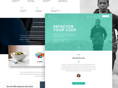 DevLifts Landing Page health developers devs devlifts landing page fitness