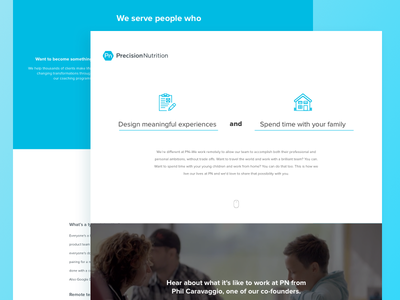 Precision Nutrition Landing Page landing hero precision nutrition ux ui jobs designer team