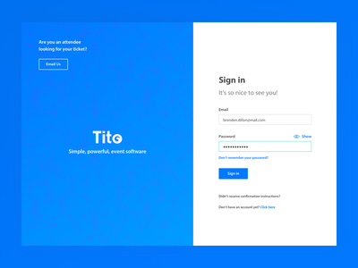 Tito Login landing page menu minimalist blue login dashboard event tito
