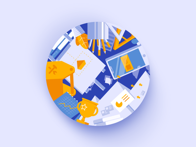 Digital Marketing Coaster Illustration
