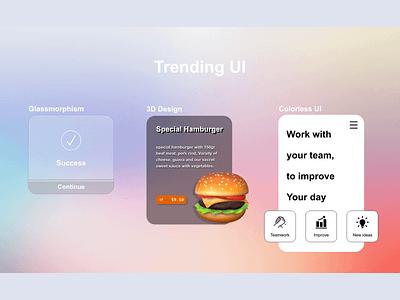 Trending - Daily UI 069 3d design colorless glassmorphism hamburger trending ui trending 069 design daily 100 challenge dailyui adobe xd