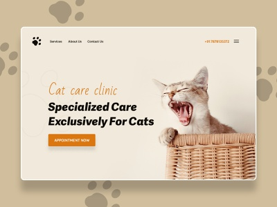 Cat Care Clinic cat care clinic cat care clinic hero section design creative cat langing page hospital catcare