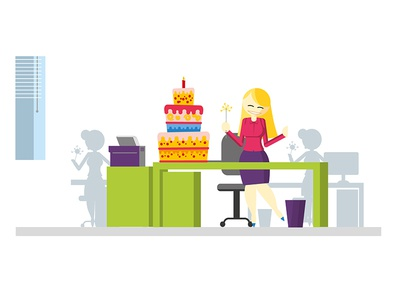 Office Girl celebrating