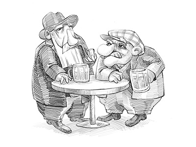 Old Fellows 2d illustration charcters