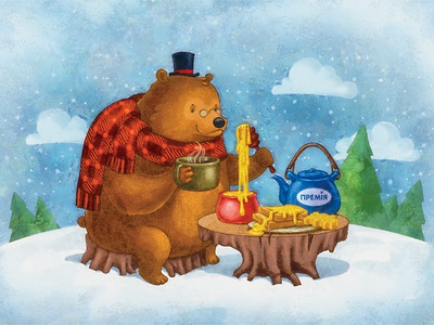 Bear at the new year picnic picnic new year lovely sky pines kettle tea snow illustration 2d honey bear
