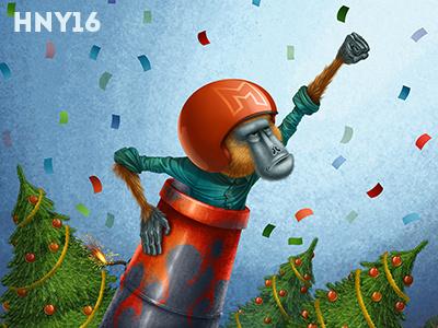 Happy New Year World!     trees baboon illustration character monkey new year