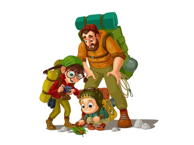 Family campaign children application. ios game art expedition character design family 2d illustration