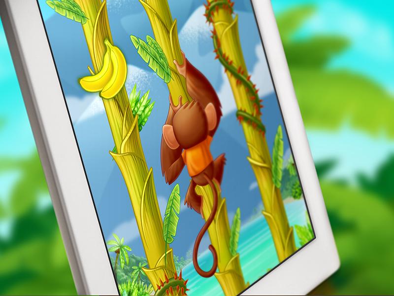 Tree Hopper iOS game art monkey character design game art design app ios
