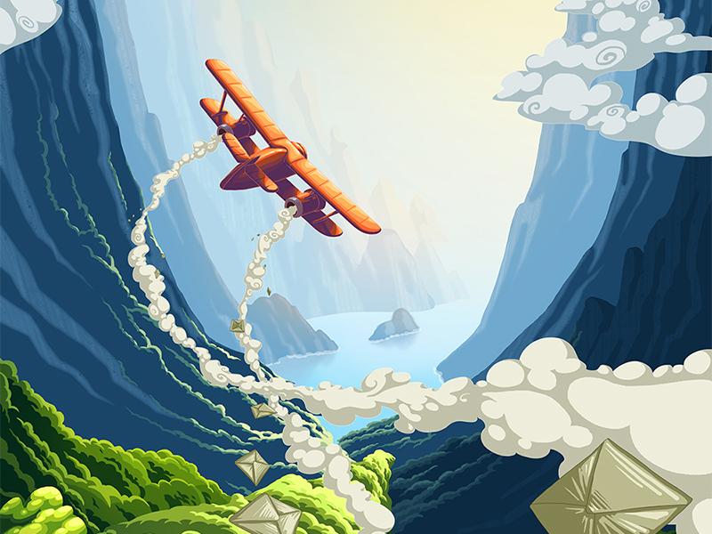 Retro plane 2d mountains plane adventure ios game design illustration