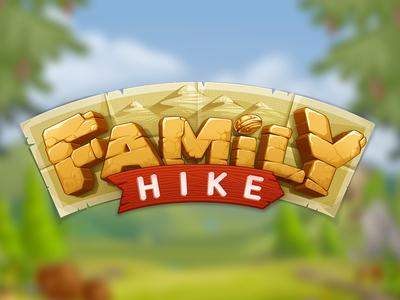 Family Hike logo mountains 2d illustration game design family logo design