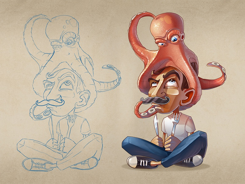 Hunger games lunchtime octopus 2d character illustration