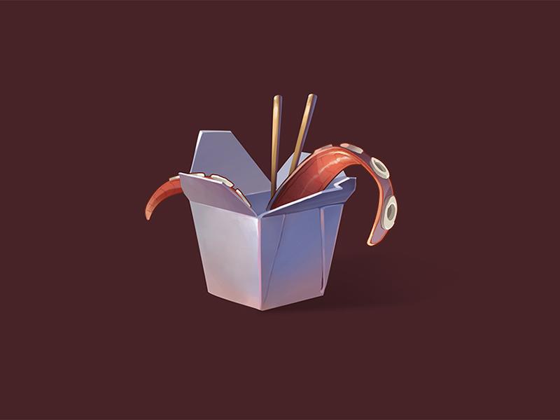 The food illustration 2d tentacle food