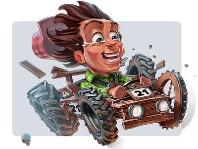 Racer Sam the Kid game art racing character design 2d illustration
