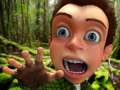 Little Sam in the forest seeking for adventure fur forest environment kid illustration high poly render character design compositing 3d cgi character