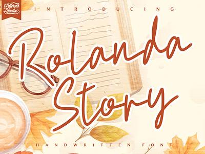 Rolanda Story - Handwritten Font typography script font logo lettering illustration icon fonts font design font design branding