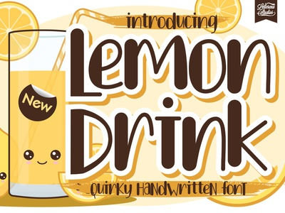 Lemon Drink - Quirky Handwritten Font typography logo icon script font lettering illustration fonts font design font design branding