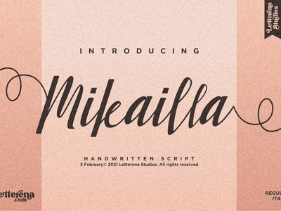 Mikailla - Beautiful Script Font vector apparel apparel font typography logo icon illustration font script font lettering fonts font design design branding