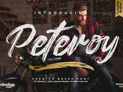 Peteroy - Premium Brush Font apparel font typography icon ui logo illustration script font lettering fonts font design font design branding
