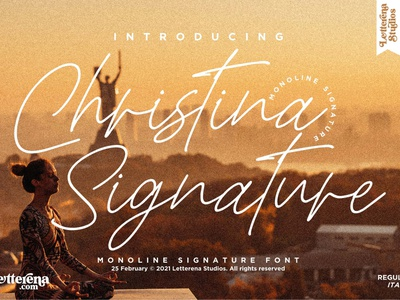 Christina Signature - Monoline Signature Font typography logo icon illustration script font lettering fonts font design font design branding