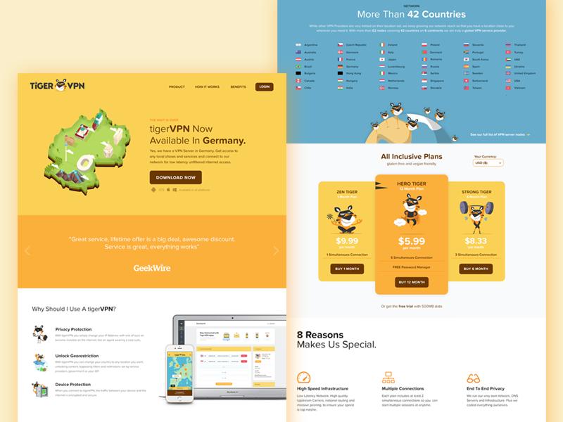 Landing page design for VPN service app character ux ui map isometric pastel tiger yellow landingpage vpn