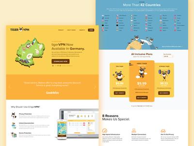 Landing page design for VPN service app