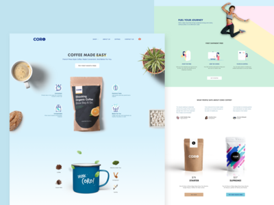 Landing Page For Healthy Coffee Box Subscriptions  minimalistic e-commerce coffee clean simple blue funky fun fresh startup landing page