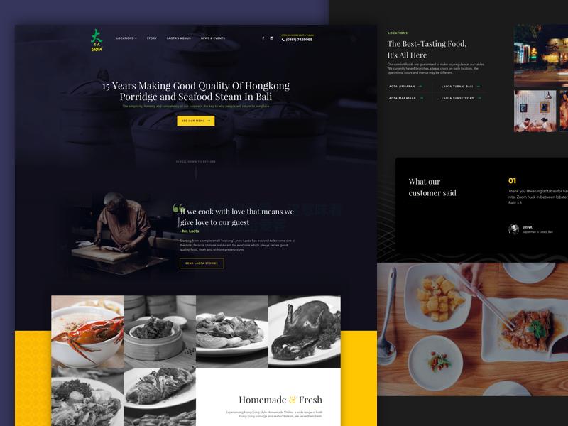 Warung Laota Website ui fresh seafood dimsum hongkong landing page website food restaurant chinese dark bali