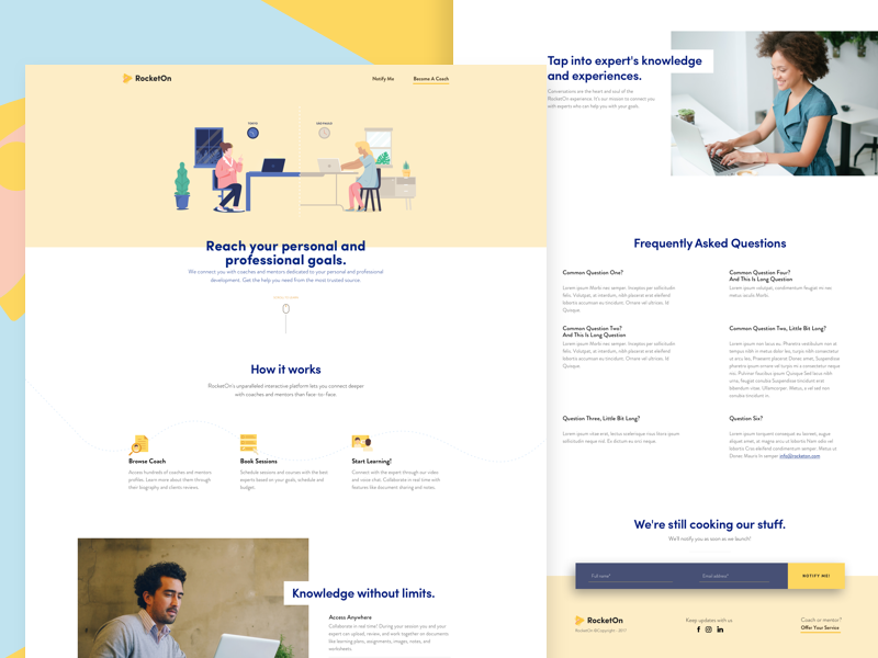 Landing Page for Coaching and Mentoring Platform trainer telecommunication video call coming soon brazil platform coaching mentoring rocketon ux ui landing page