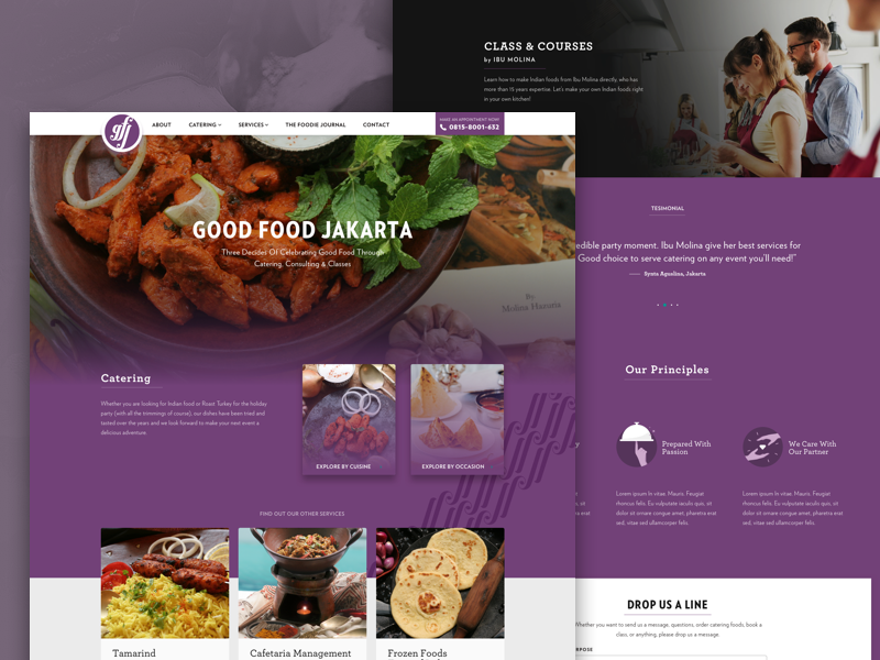 GoodFoodJakarta Homepage restaurant ui website cooking chef foods indian delivery food fnb catering