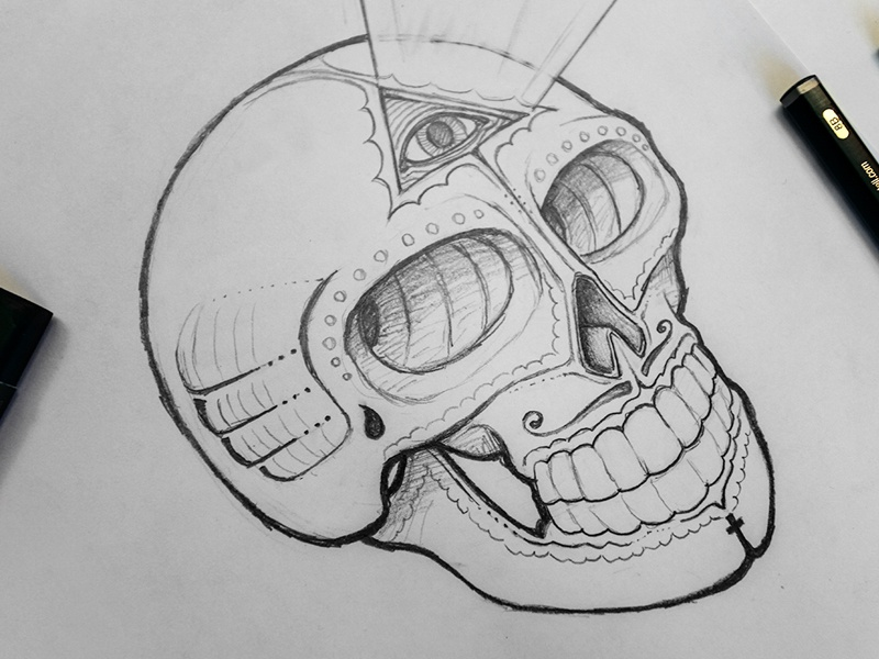 Sugar Skull Concept Sketch By Jerimy Dribbble Dribbble