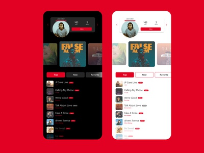 Ui concept for music app in two version music app music concept ps adobexd xd icon flat uiux web ux app design ui