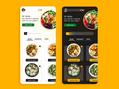 food application in two version food and drink dark salad food app food xd design xd flat uiux web minimal ux app ui design