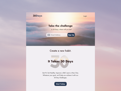 Daily UI #003 - Landing Page web design 30 day challenge landing page design ui dailyuichallenge dailyui