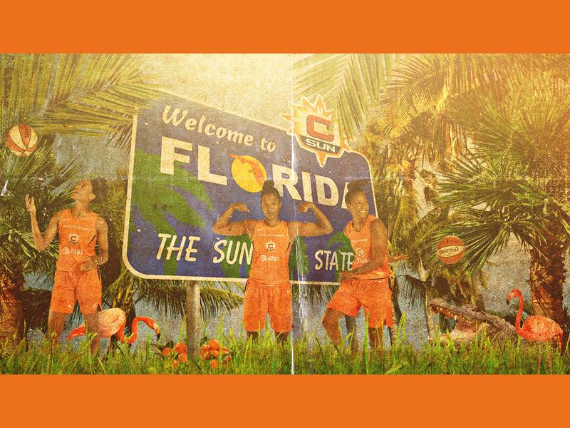 WELCOME TO FL social media photoshop wnba florida creative design graphic design basketball connecticut sun