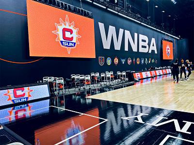 IN GAME LOGO TAKEOVER arena wnba florida connecticut sun connecticut digital creative sun basketball