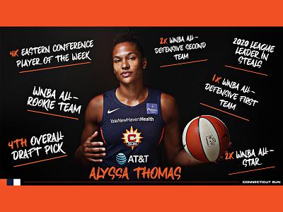 Alyssa Thomas basketball wnba sun connecticut sun typography social media graphic design creative design