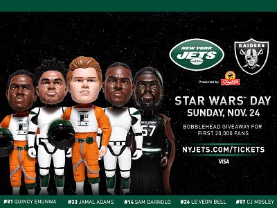 Star Wars Bobbleheads social media football nyc nfl star wars new york city new york jets new york jets graphic design bobblehead