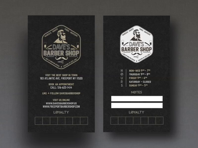 Daves Barber Shop Logo + Business Card tumult hype business card print branding presentation animation logo barbershop