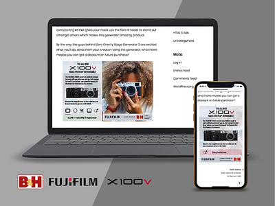B&H   Fujifilm X100v HTML5 Responsive Ad fujifilm x100v dff aftereffects 3d affiliate portal bhphoto tumult hype rotato advertising animation