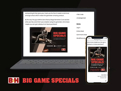 B&H Big Game Specials Responsive Ad aftereffects 3d affiliate portal tumult hype advertising animation