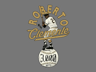 CLEMENTE 3000 mvp baseball vintage illustration merch apparel graphic design doublestruck designs