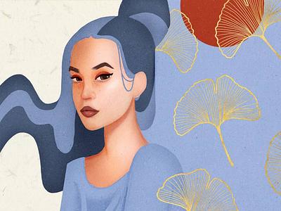 Portrait freestyle face beauty monochromatic gold fashion sketch geometric procreate woman girl illustration portrait modern