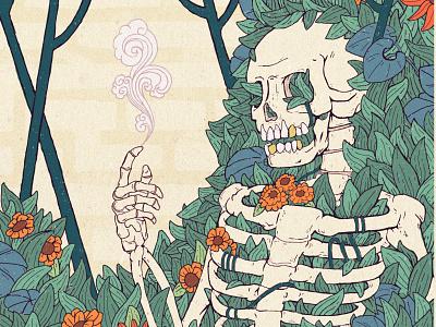 Last Resort drawing fine art japanese ukiyoe retro bones smoke floral vines flowers magic skeleton sketch illustration