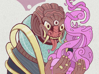 Dribbble Shaman sketch illustration demon mask indonesian magic shaman debut