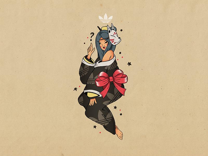 Adidas Pinup Babe sailor jerry bow japanese kitsune tattoo kimono girl pinup adidas