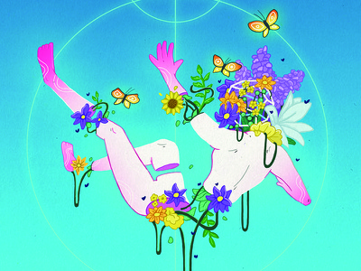 Spilling My Guts plant glow vaporwave sad butterfly flowers illustration