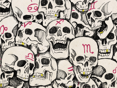 Bone Pile scary spooky astrology sketch pencil illustration skulls bones