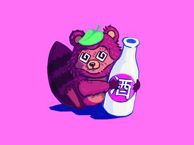 Tanuki Drinking Sake