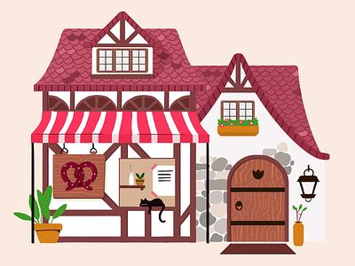 Little German Pretzel shop cat simple wood flat illustration architecture pretzel german