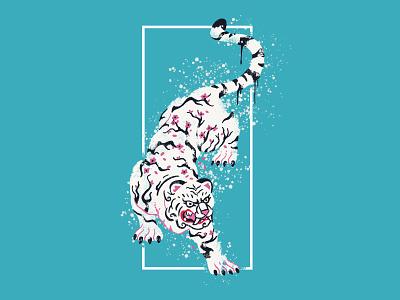 Cherry Blossom Tiger pro create aesthetic vaporwave tattoo retro splatter tiger cherry blossom